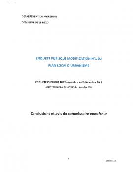 CONCLUSIONS ET AVIS DU COMMISSAIRE ENQUETEUR
